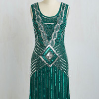 20s Long Sleeveless A-line Cabaret Soiree Dress in Emerald by ModCloth