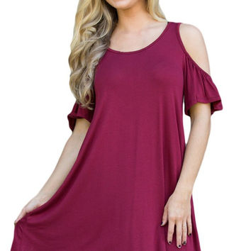 Burgundy Naughty Cute Cold Shoulder Summer Short Sleeve Dresses