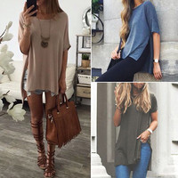 Short Sleeve Casual Loose O neck