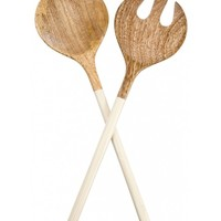 Wood & Enamel 2-Piece Serving Set