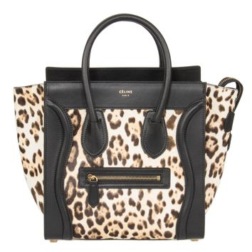 Celine Micro Luggage Tote Bag | Leopard and Black Print