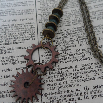 Steampunk Necklace, Gears and Cogs, Industrial S12