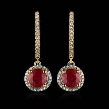 14KT Yellow Gold 4.26Ct Solid Diamond  Red Ruby Earrings