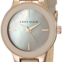 Anne Klein Women's AK/2032RGTP Rose Gold-Tone and Taupe Leather Strap Watch