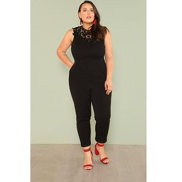 Guipure Lace Applique Neck Solid Jumpsuit