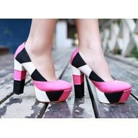Wholesale Irregular spell color thick with individual character high documentary pump shoes CZ-0419 pink - Lovely Fashion
