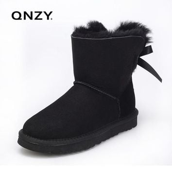 QNZY 100%Australia of the natural sheep fur snow boots women short boots/winter warm flat bottomed large boots/free shipping