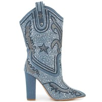 Cape Robbin Beautiful Crystal Western Sea Blue Cowboy Boots