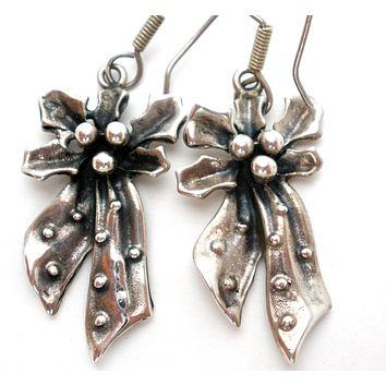 Vintage Holly & Bow Earrings Mexican Sterling Silver
