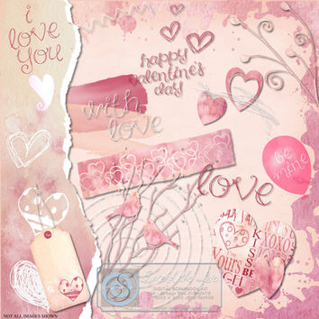 Valentine's Day Digital Scrapbooking Kit, Digikit, Journaling, Card Making,  Clipart, Paper Craft, Instant Download - Spread the Love'