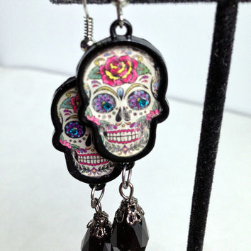 Day of the Dead, Sugar Skull Jewelry, Skull Earrings, Goth Style, Halloween Accessory, Black Gem Dangle, Painted Skull, Creepy Things