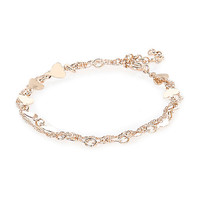 River Island Womens Gold tone double chain heart bracelet