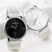 Womage Simple Round Dial Silver Mesh Steel Quartz Women Watch