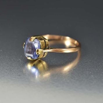 Deco Pale Blue Sapphire Gold Engagement Ring