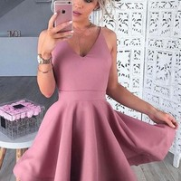 Baby Pink Short Deep V Neck Homecoming Dresses
