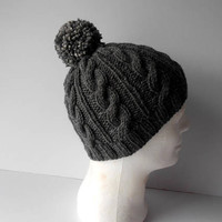 Hats for Men. Knitted Hat. Cable Knit Hat. Hat with pom pom. Bobble hat.  Men's knit Toque. Men's knit Hat. Gray Beanie Hat. Gift for Him.