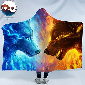 Fire and Ice by JoJoesArt Hooded Blanket 3d Wolves for Adults Sherpa Fleece Wearable Throw Blanket Microfiber 150x200 Blue Wolf