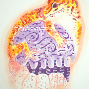 "Leopard Gecko On a Purple Frosted Cupcake Swirl! Birthday Valentines Wall Art Glossy 6""x4"""