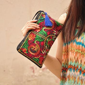 Women  Retro Butterfly Flower Bags Dragon Coin Purse Embroidered Lady clutch Tassel Small Flap Summer