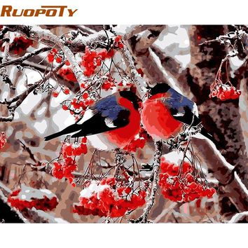 RUOPOTY Frame Picture Birds DIY Painting By Numbers Kits Acrylic Paint On Canvas Modern Wall Art Picture For Home Decor Artwork
