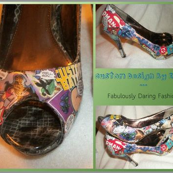 Prom Wedding Birthday Custom Superman Comic Book Open Toe Pumps Sizes 6-13