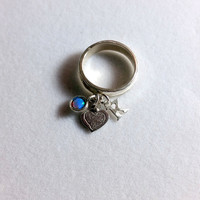 Charm Band ring , silver band ring , silver stacking ring , sterling silver ,name ring , stack gemstone ring , birthstone ring , charm ring