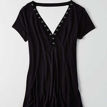 AEO Soft & Sexy Snap Front Jegging T-Shirt , True Black