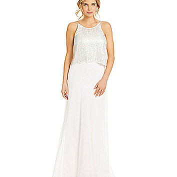 Aidan Mattox Beaded Pop-Over Column Gown | Dillards.com
