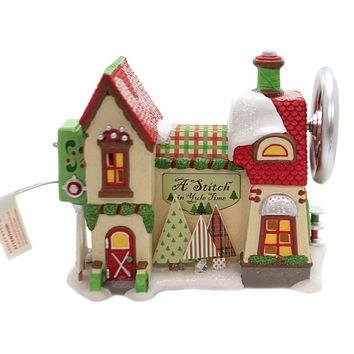 Department 56 House A STITCH IN YULE TIME Porcelain North Pole 6003111
