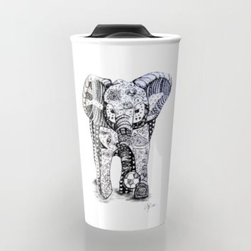 An Elephant Plays Soccer Travel Mug by DEPPO