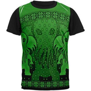 DCCKU3R Ugly Christmas Sweater Big Cthulhu Greater Gods All Over Mens Black Back T Shirt