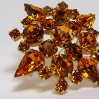 Vintage Kramer Of New York Brooch, Juliana Style Amber Rhinestone Brooch