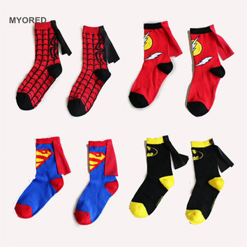 3 to 6 Years kids socks Superman batman flash cloak cotton socks in boys&girls tube socks children dancing cosplay party socks
