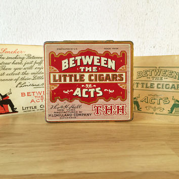 Between the Acts Little Cigar Tin with Paper Wrappers / Tobacco Tin Can