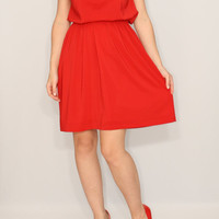 Short red dress Chiffon dress Bridesmaid dress Keyhole dress