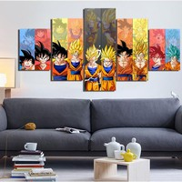 5 Pieces Cartoon Dragon Ball Z Goku Evolution Modern Home Wall Decor Canvas Picture