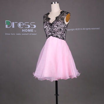 Black and Pink Short Lace Homecoming Dress/Pink Bridesmaid Dress/Knee Length Junior Bridesmaid Dress/Lace Party Dress/Short Prom Dress DH370
