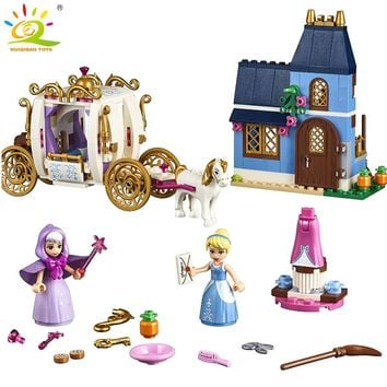 398PCS Princess Castle Carriage Figures Building Block Compatible Legoed Friends house Enlighten Bricks Toys For Girl Children