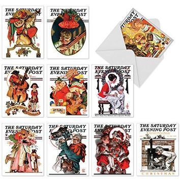 10 Assorted 'Christmas Evening Post' Note Cards with Envelopes, Season's Greetings Stationery with Iconic Covers from Saturday Evening Post, For Christmas, New Year, Gifts