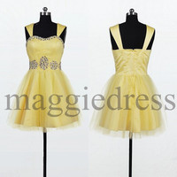 Custom Yellow Beaded Short Prom Dresess Bridesmaid Dresses 2014 Evening Dresees Party Dresses Wedding Party Dress Homecoming Dresses