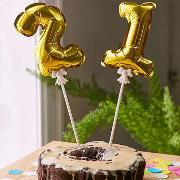 Mini Number Balloon Cake Toppers Set - Urban Outfitters