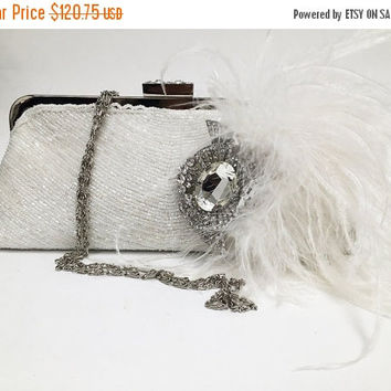 Bridal clutch, wedding clutch, Crystal clutch, bridal evening bag, white clutch, bridal bag, feather clutch, bridesmaid clutch