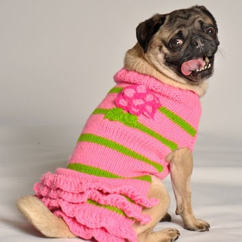 Chilly Dog Pink Flower with Skirt Dog Sweater