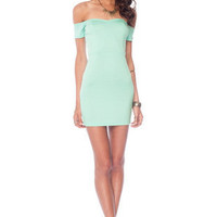 Off My Shoulders Mini Dress in Mint :: tobi