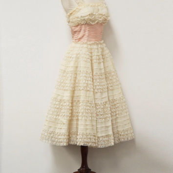 Vintage 1950's Tiered Lace White And Light Pink Cupcake Prom Dress