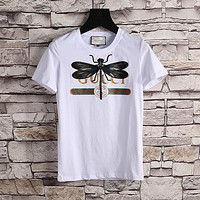 Gucci Women or Men Fashion Casual Pattern Embroidery Shirt Top Tee