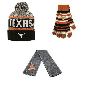 Licensed Texas Longhorns Glove Solid Knit Acid Rain Beanie Hat And Hail Scarf 3Pk 16113 KO_19_1