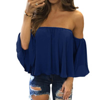 Slash Neck Soild Shirt Strapless Off Shoulder Blouses