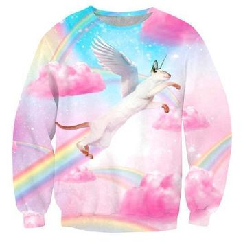Flying Siamese Unicorn Kitty Cat riding Rainbows in Heaven Print Unisex Pullover Sweater
