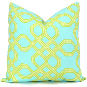 Lilly Pulitzer Peach Aqua Green Well Connected Trellis Pillow Cover Square, Eurosham, Lumbar pillow Accent Pillow, Throw Pillow, Toss Pillow